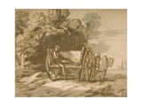 Boy with a Cart. - Sketch with Pen and Wash, 18th Century Giclee Print by Thomas Gainsborough