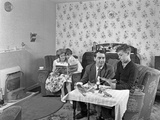 Typical Working Class Living Room Scene with Family, 11 July 1962 Photographic Print by Michael Walters