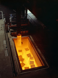 Soaking Pits with Red Hot Steel Ingots, Sheffield, South Yorkshire, 1965 Photographic Print by Michael Walters