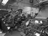 Linotype Machine Room at a Printing Company, Mexborough, South Yorkshire, 1959 Photographic Print by Michael Walters