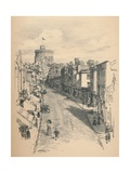 Great Tower of Windsor Castle from Peascod Street, 1902 Giclee Print by Thomas Robert Way