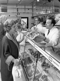Scene Inside a Butchers Shop, Doncaster, South Yorkshire, 1965 Photographic Print by Michael Walters