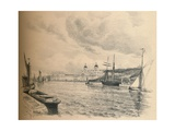 Greenwich Palace from the River, 1902 Giclee Print by Thomas Robert Way
