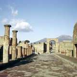 Road Leading to Arch of Caligula with Vesuvius Beyond, Pompeii, Italy Photographic Print by CM Dixon