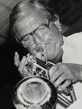 Trumpeter Leon Calvert Playing at the Fairway, Welwyn Garden City, Hertfordshire, 1993 Photographic Print by Denis Williams