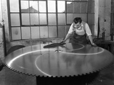 Quality Checking a Giant Saw Blade, Edgar Allens Steel Foundry, Sheffield, South Yorkshire, 1963 Photographic Print by Michael Walters