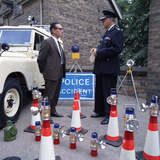 Derbyshire Police Commissioner Taking Delivery of Two New Land Rovers, Matlock, Derbyshire, 1969 Photographic Print by Michael Walters