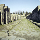 A Pompeii Street with Vesuvius in the Distance, Italy Photographic Print by CM Dixon