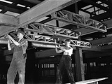 Engineers Lifting Steelwork into Position, South Yorkshire, 1954 Photographic Print by Michael Walters