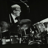 Ted Heath Band Drummer Jack Parnell Playing at the Forum Theatre, Hatfield, Hertfordshire, 1983 Photographic Print by Denis Williams
