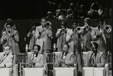 The Brass Section of the Count Basie Orchestra, Royal Festival Hall, London, 18 July 1980 Papier Photo par Denis Williams