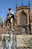 Lady Wulfrun Statue and St Peters Church, Wolverhampton, West Midlands Photographic Print by Peter Thompson