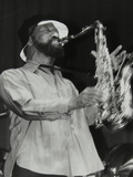 Sonny Rollins Playing Tenor Saxophone at Wembley Conference Centre, London, 1979 Papier Photo par Denis Williams