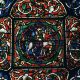 Stained Glass Depiction of the Holy Family Fleeing to Egypt, 12th Century Stampa fotografica di CM Dixon