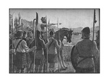Robert the Bruce Reviewing His Troops before the Battle of Bannockburn, 1314 Giclee Print by  EBL