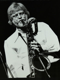 Saxophonist Gerry Mulligan Playing at At the Forum Theatre, Hatfield, Hertfordshire Reproduction photographique par Denis Williams