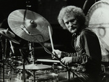 Drummer Ginger Baker Performing at the Forum Theatre, Hatfield, Hertfordshire, 1980 Papier Photo par Denis Williams