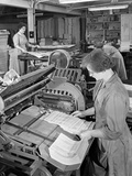 A Folding Machine in a Printworks, Mexborough, South Yorkshire, 1959 Photographic Print by Michael Walters