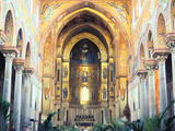 Cathedral Interior with Mosaics, Monreale, Sicily, Italy Photographic Print by Peter Thompson