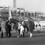 Racehorse and Jockey in Front of Doncaster Racecourse Grandstand, South Yorkshire, 1969 Photographic Print by Michael Walters