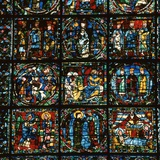 Detail of the Great West Window of Chartres Cathedral, 12th Century Photographic Print by CM Dixon