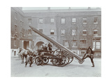 Firemen Demonstrating a Horse-Drawm Escape Vehicle, London Fire Brigade Headquarters, London, 1910 Photographic Print