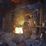 75 Ton Arc Furnace Pouring Molten Steel into a Vessel, Sheffield, South Yorkshire, 1969 Photographic Print by Michael Walters