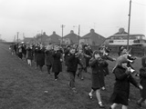 Children Marching with Home Made Bugles, Middlesborough, Teesside,1964 Photographic Print by Michael Walters