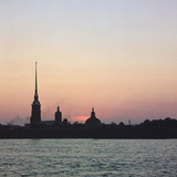 Sunset over the River Neva in St Petersburg Photographic Print by CM Dixon