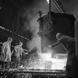 Pouring a Two Ton Casting, Osborn Hadfields Steel Founders, Sheffield, South Yorkshire, 1968 Photographic Print by Michael Walters
