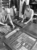 Newspaper Typesetting, Mexborough, South Yorkshire, 1959 Photographic Print by Michael Walters