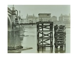 Emergency Water Supply Pump Platform, Westminster Bridge, London, Wwii, 1944 Reproduction photographique