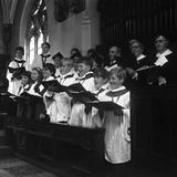 The Choir from Brampton Parish Church Singing During a Service, Rotherham, 1969 Papier Photo par Michael Walters
