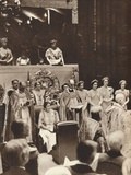 Queen Elizabeth Looks on as Her Husband Is Crowned on the Day of His Coronation, 1937 Photographic Print