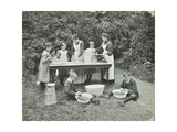 Pupils Preparing Food Outdoors, Birley House Open Air School, Forest Hill, London, 1908 Photographic Print