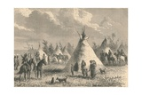 Village of Prairie Indians, C19th Century Giclee Print