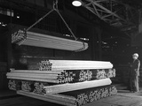 Steel H Girders Being Stacked for Distribution, Park Gate, Rotherham, South Yorkshire, 1964 Photographic Print by Michael Walters