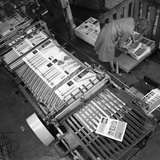 Stacking Finished Brochures at a Printers, Mexborough, South Yorkshire, 1959 Photographic Print by Michael Walters
