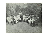 Pupils in the Garden Doing Needlework, Birley House Open Air School, Forest Hill, London, 1908 Photographic Print