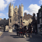 Tetley Shire Horses and Dray in Front of Micklegate Bar, York, North Yorkshire, 1969 Photographic Print by Michael Walters