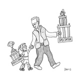 A father and daughter both walk, holding trophies.  The father's says Spec... - New Yorker Cartoon Premium Giclee Print by Mathew Stiles Davis