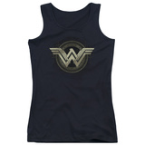 Juniors Tank Top: Batman vs. Superman- Wonder Woman Tech Logo T-shirts