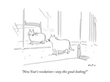 """New Year's resolution—stay this good-looking!"" - New Yorker Cartoon Premium Giclee Print by Kim Warp"