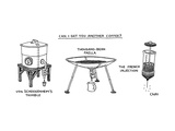 A triptych of eccentric coffee devices, The French Injection, Thousand Bea... - New Yorker Cartoon Premium Giclee Print by Tom Chitty