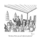 A wife scolds her husband at a church.  - New Yorker Cartoon Premium Giclee Print by Zachary Kanin