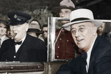 Franklin D Roosevelt and Winston Churchill Meeting in Quebec, Canada, 1944 Photographic Print