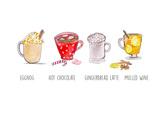 Xmas Drinks Prints by  Alison B Illustrations