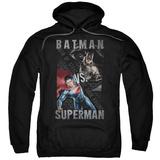 Hoodie: Batman vs. Superman- Split Heroes Pullover Hoodie
