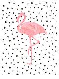 Pink Flamingo on Polka Dots Plakaty autor Peach & Gold