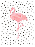Pink Flamingo on Polka Dots Poster di  Peach & Gold